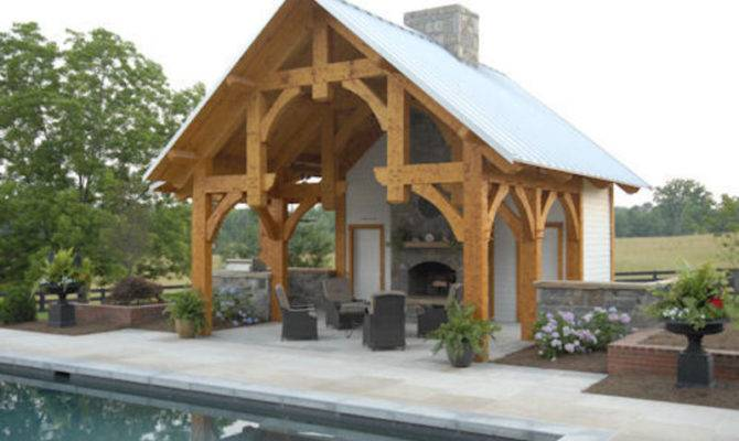Outdoor Pool House Design Homestead Timber Frames