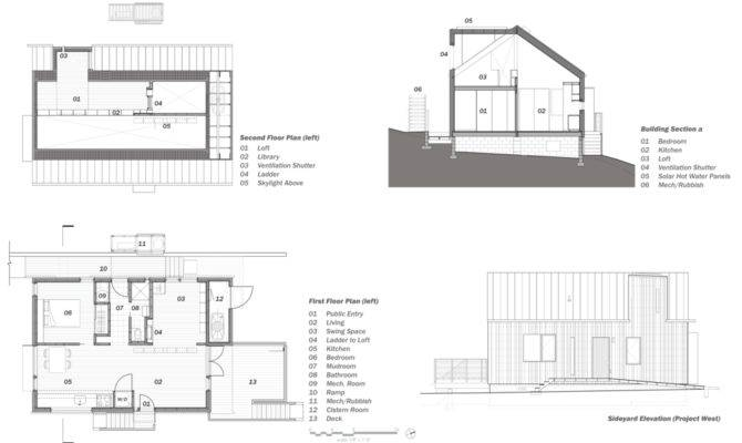 Plans Transverse Section West Elevation Credit Design