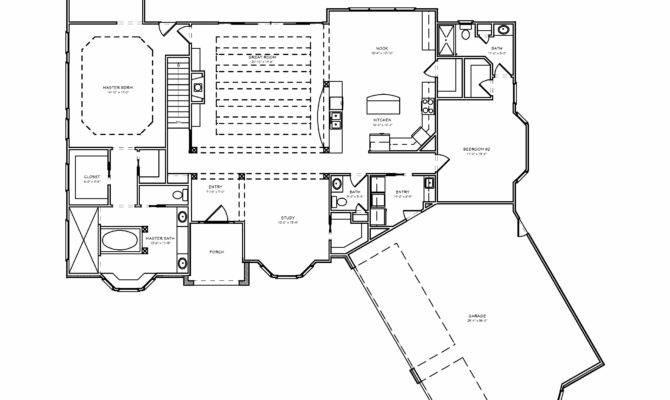 Ranch House Plan Greatroom Car Garage