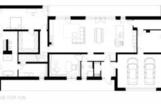 Residence Floor Plan Design Wtih Two Car Garage Open Living