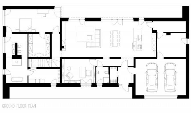 Residence Floor Plan Design Wtih Two Car Garage Open Living