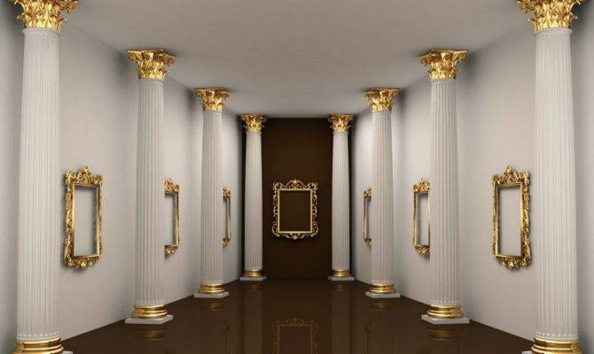 Roman Pillars White Corridor House