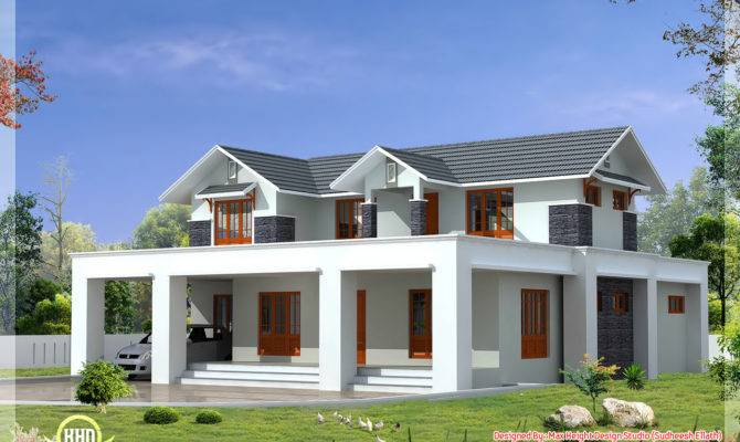Roof Mix House Elevation Feet Kerala Home Design