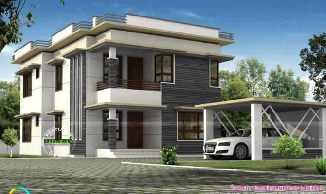 Separate Car Porch Flat Roof Home Kerala Design Floor Plans