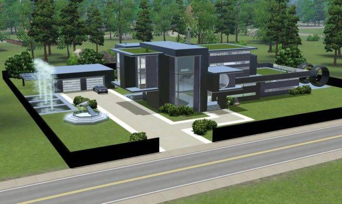 Sims Modern Black Futuristic Villa Ramborocky Deviantart