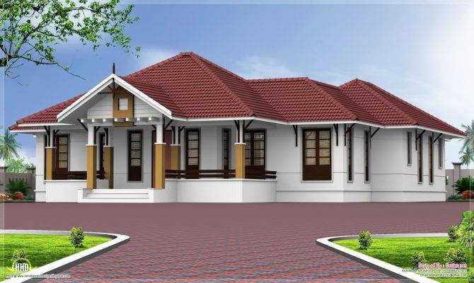 Single Floor Bedroom Home Courtyard House Design Plans