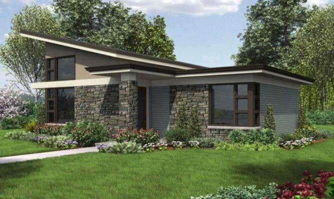 Single Story Modern House Plans Stone Facade Large Windows