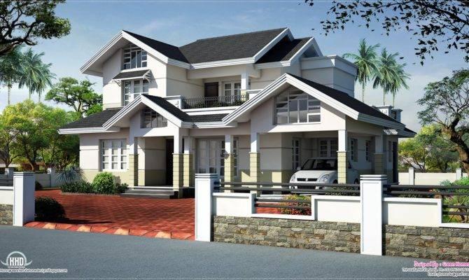 Sloped Roof House Elevation Design Kerala Home Floor