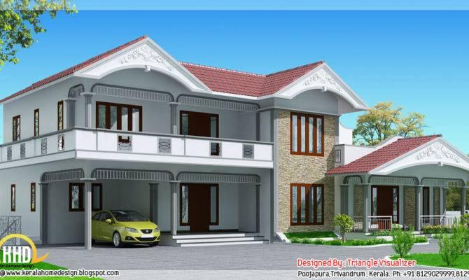 Sloped Roof House Kerala Style Home Design Floor Plans