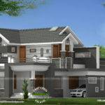 Sloped Roof Modern Mix House Kerala Home Design Floor Plans