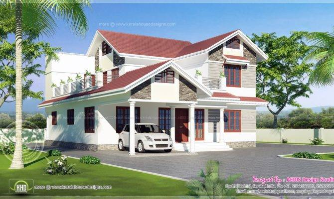 Sloping Roof House Exterior Sqm Indian Plans