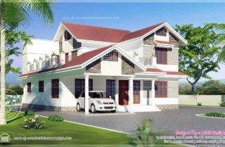 Sloping Roof House Exterior Sqm Kerala Home Design Floor