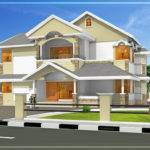 Sloping Roof Kerala Villa Elevation Sqft
