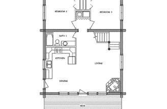 Small Cabin Open Floor Plans Log