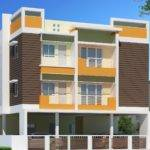 Square Sized Three Story Residential Building Elevation