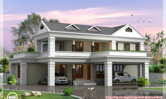 Storey Sloping Roof Home Plan Architecture House Plans