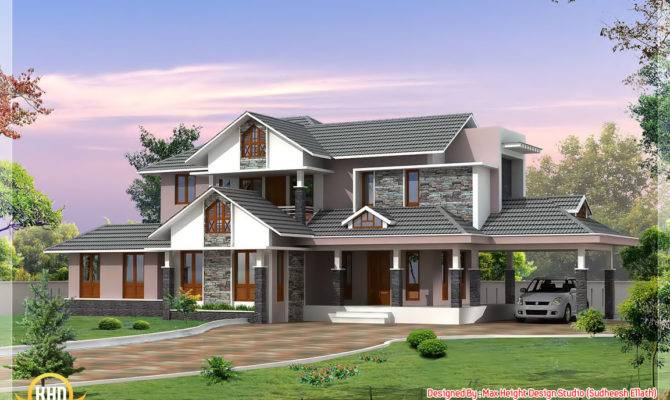 Style Dream Home Elevations Kerala Design Floor Plans
