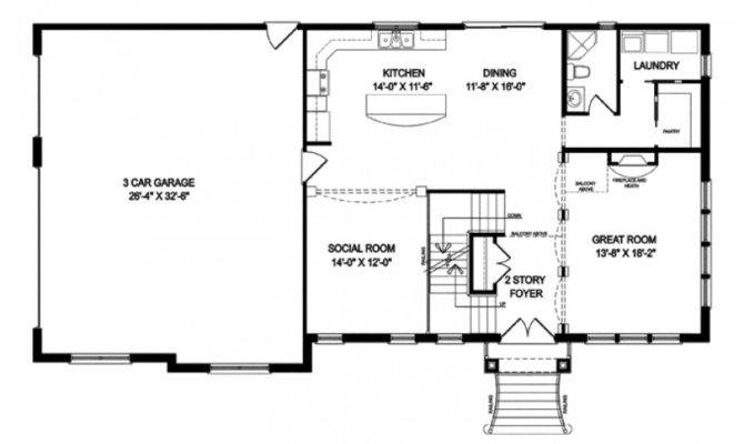 Traditional House Plan Two Story Open Floor