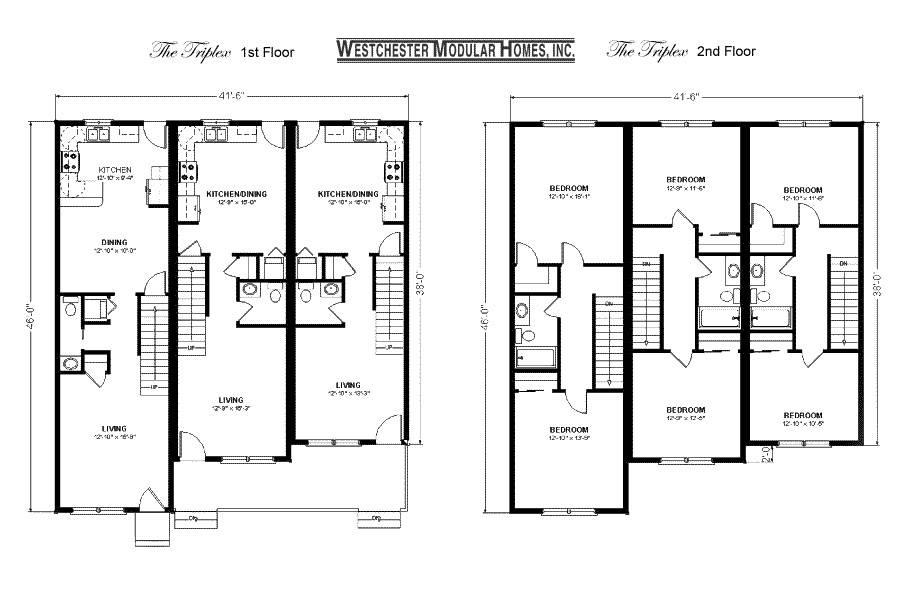 Triplex Plan Duplex Plans House Apartment 108748 Triplex House Plans On House Plans Duplex Triplex Custom