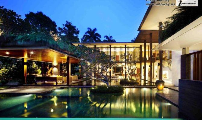 Tropic House Nice Swimming Pool Wooden Patio Also Cool