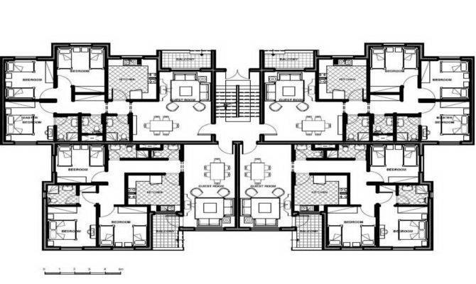 Unit Apartment Building Plans Design