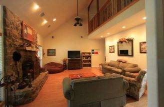 Warm Cozy Cathedral Ceiling Living Room Fireplace
