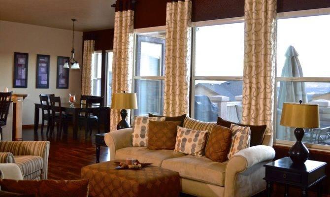 Wide Open Floor Plan Living Room Dining Space Beside Custom