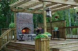 Wood Deck Designs Fireplace Cool Decks