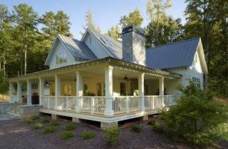 Wrap Around Porch Farmhouse Style Homes Southern