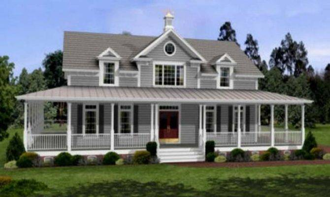 Wrap Around Porch Pics Above Section Small Farmhouse Plans