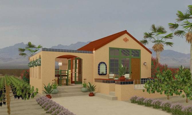 Adobe Southwestern Style House Plan Beds Baths