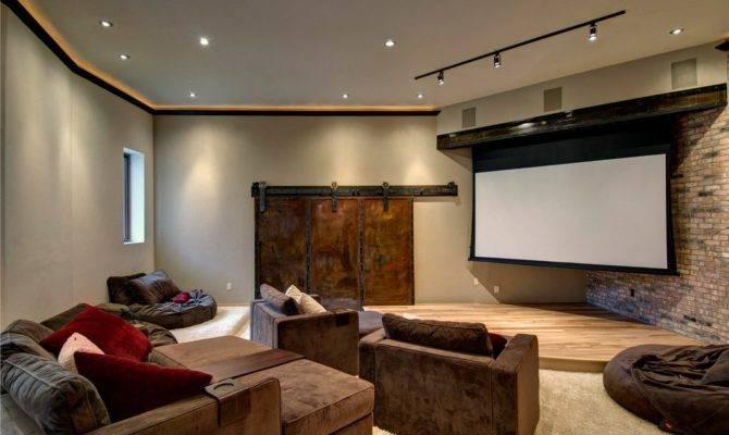 American Barn Homes Home Theater Contemporary Brick