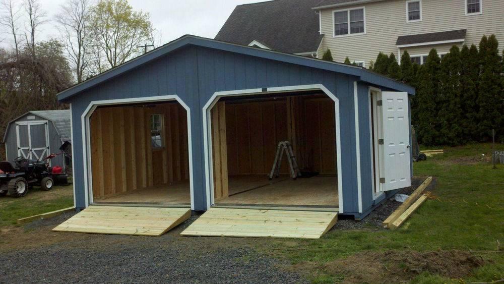 Amish Built Frame Doublewide Garage Storage Shed