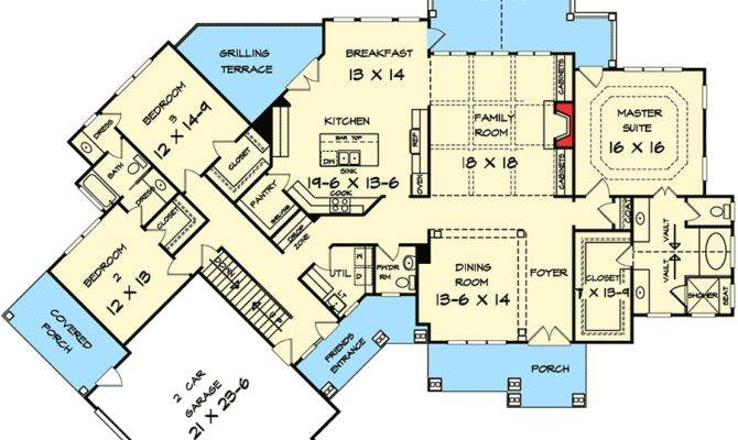Angled Craftsman House Plan Architectural