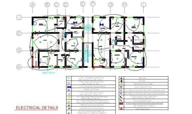 Apartment Block Electrical Plan Cad Dwg Cadblocksfree