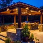 Arbors Pavilions Wrap Around Granite Outdoor Kitchen