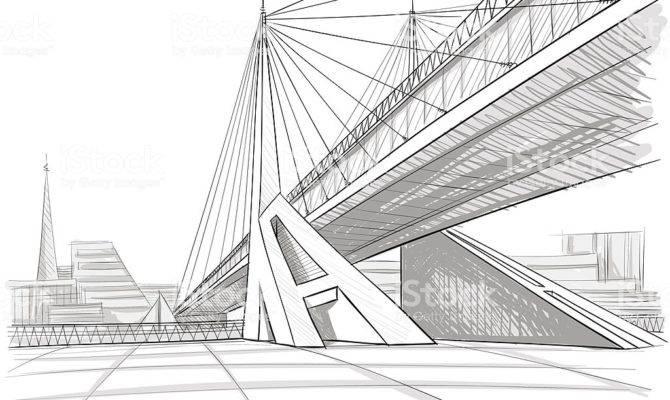 Architectural Drawing Bridge Vector Art More
