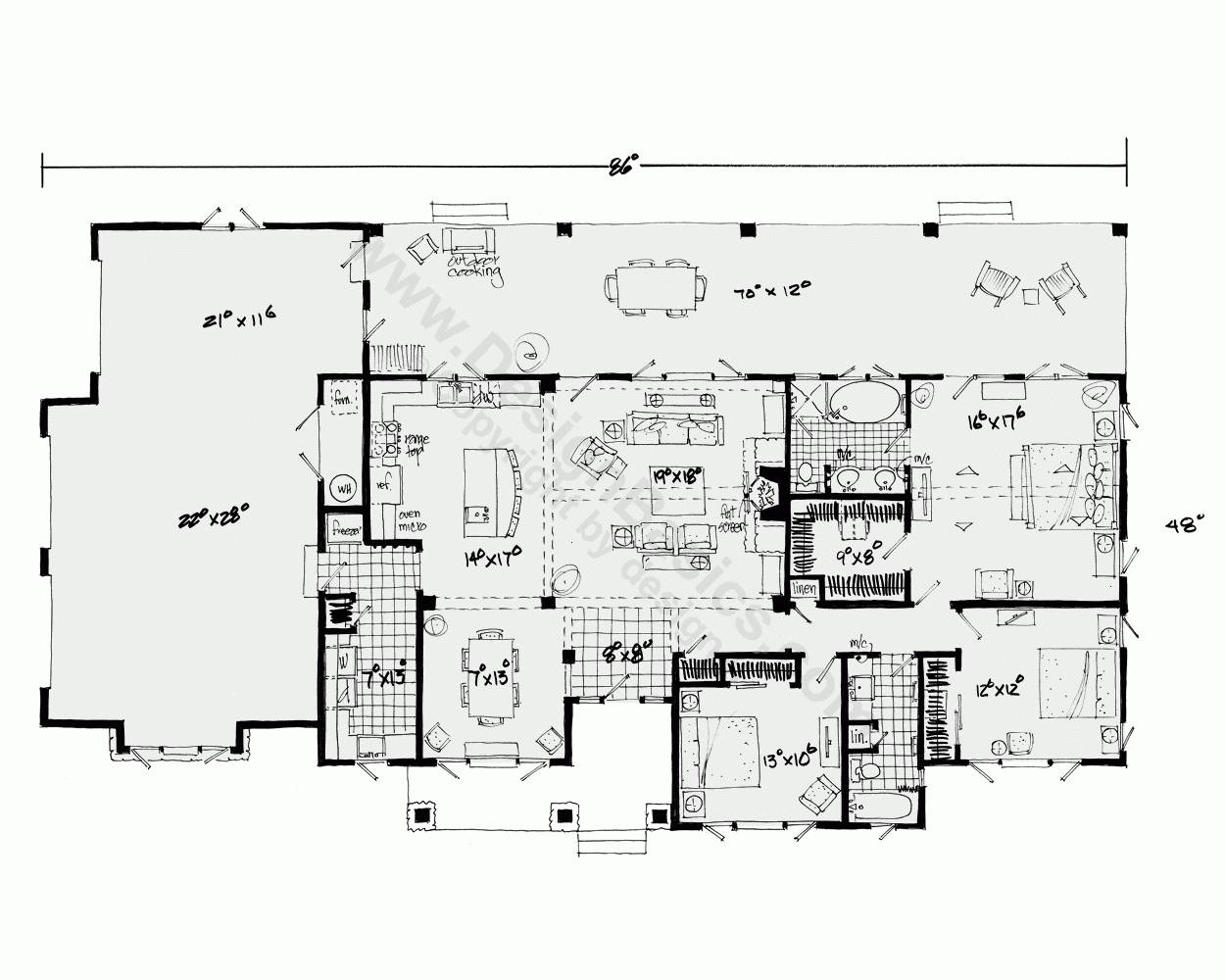 Architectures House Plans Open Floor Plan One Story