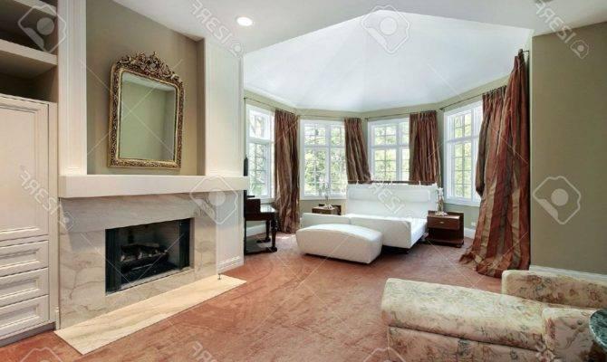 Artistic Yellow Hanged Lamps Bedroom Gas Fireplace Luxury