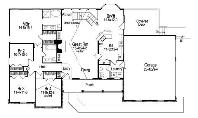 Ashbriar Atrium Ranch Home Plan House Plans More