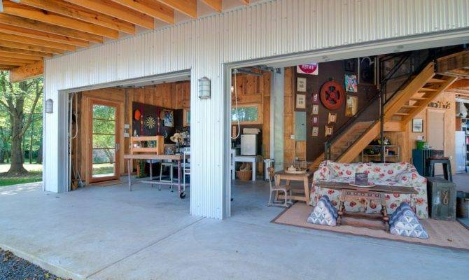 Attached Garage Workshop Designs Rustic