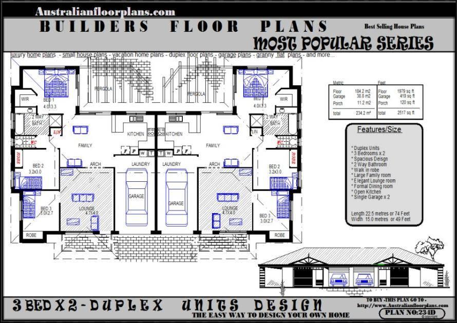 Australian Dream Home Duplex Design House Plans