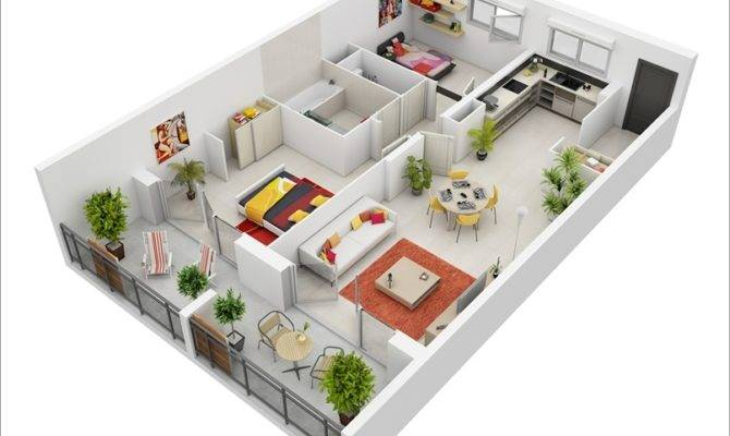 Awesome Two Bedroom Apartment Floor Plans Architecture Design