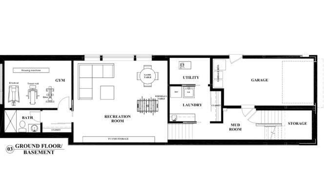 Basement Floor Plan Interior Design Perspective