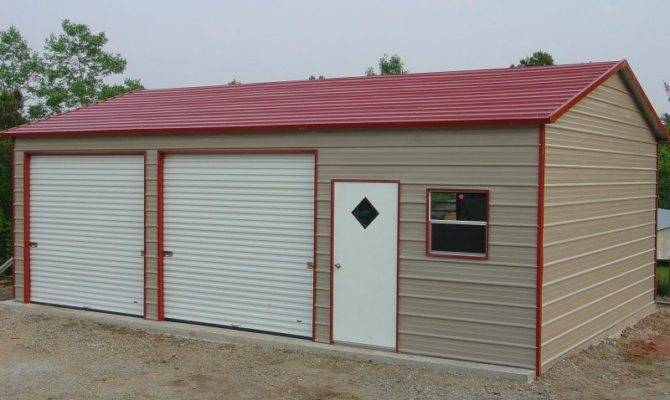 Bay Steel Garages Two Car Enclosed Building Garage