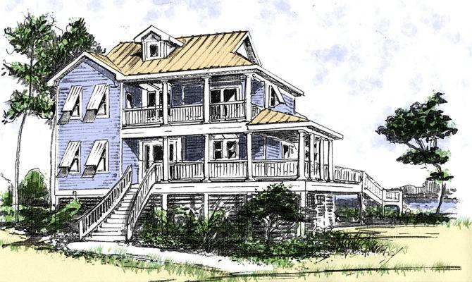 Beach House Plan Two Story Great Room