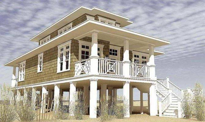 Beach House Plans Pilings Narrow Lots Farmhouse