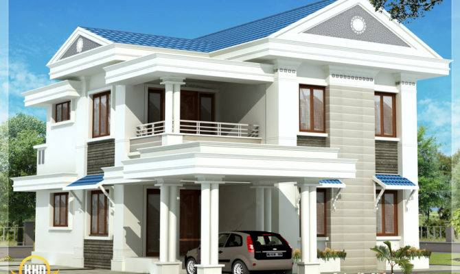 Beautiful Blue Roof Home Design Kerala