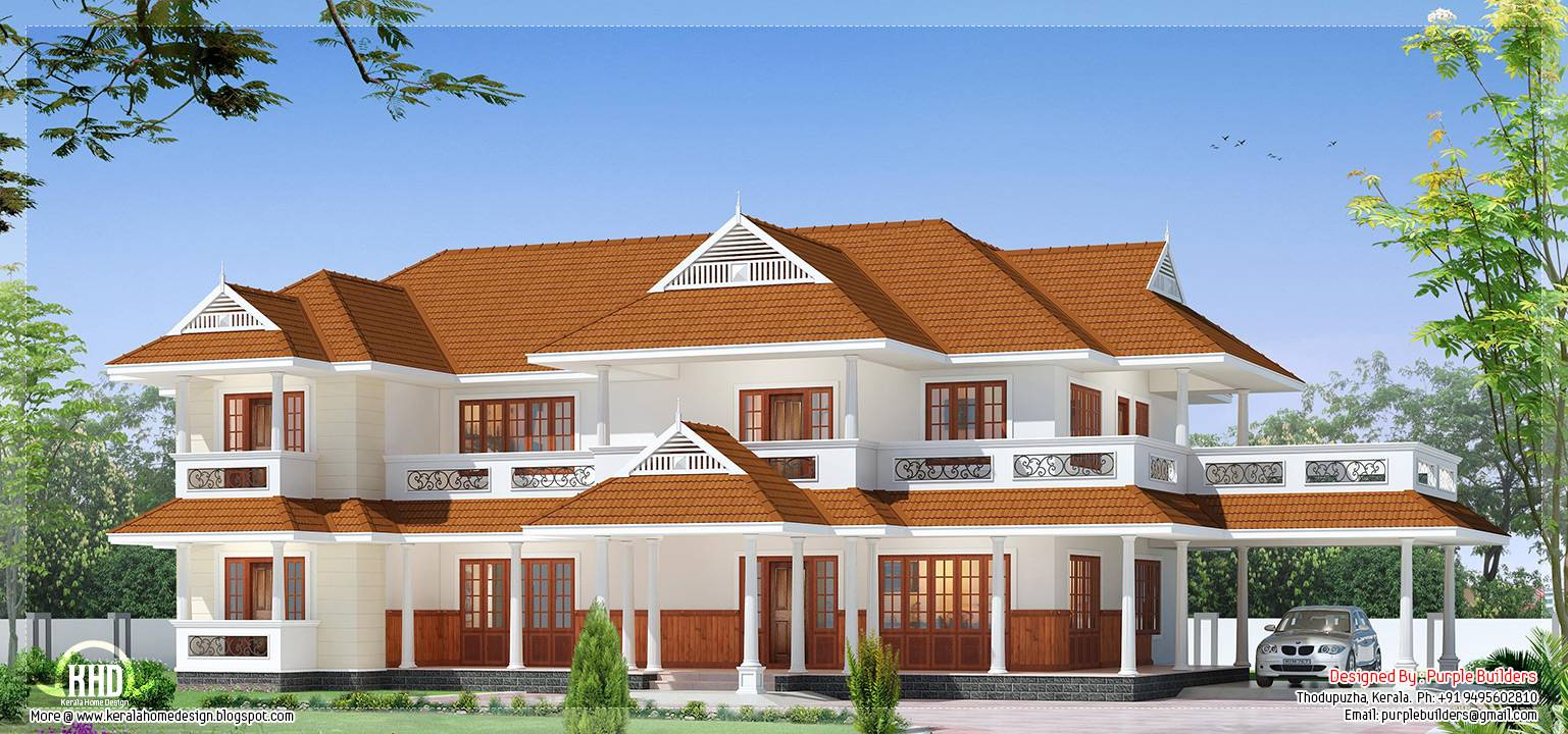Beautiful Luxury Two Storey House Design Kerala