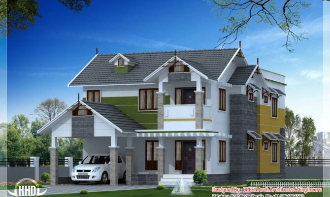 Beautiful Sloping Roof House Design Kerala Home
